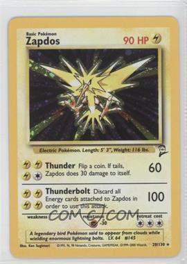 2000 Pokemon Base Set 2 - Booster Pack Reprint Set #20 - Zapdos