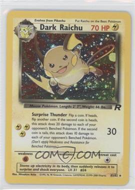 2000 Pokemon Team Rocket - Booster Pack [Base] - Unlimited #83 - Dark Raichu