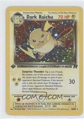 2000 Pokemon Team Rocket Booster Pack [Base] 1st Edition #83 - Dark Raichu