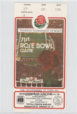 1902-Now Rose Bowl Ticket Stubs #71 - 1985 (Southern California (USC) Trojans vs. Ohio State Buckeyes)
