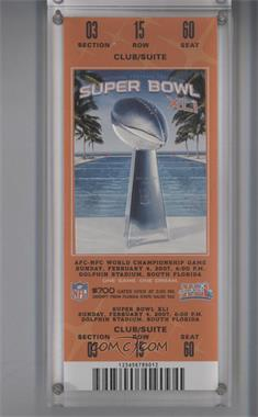 1967-Now Super Bowl Ticket Stubs - [Base] #XLI - Indianapolis Colts vs. Chicago Bears