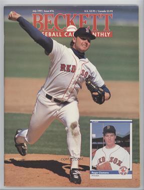 1984-Now Beckett Baseball - [Base] #76 - July 1991 (Roger Clemens)