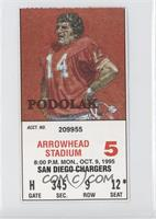October 9 vs. San Diego Chargers (Ed Podolak)