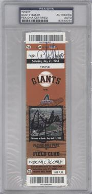 2001 San Francisco Giants Ticket Stub - Autographs #7-21 - vs. Arizona Diamondbacks [PSA/DNACertifiedAuto]