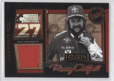 2005 Press Pass Legends Racing Artifacts Firesuits Bronze #F-F - Tim Richmond /375