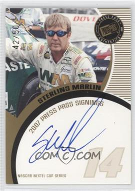 2007 Press Pass - Press Pass Signings - Gold #STMA - Sterling Marlin /50
