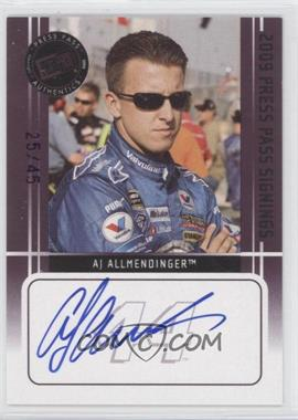 2009 Press Pass Press Pass Signings Purple [Autographed] #AJAL - A.J. Allmendinger /45