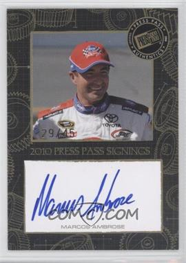 2010 Press Pass - Press Pass Signings - Gold [Autographed] #MAAM - Marcos Ambrose /45