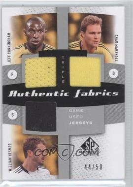 2011 SP Game Used Edition Authentic Fabrics Triple #AF3-CMB - Jeff Cunningham, Chad Marshall, William Hesmer /50