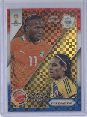 2014 Panini Prizm World Cup - Matchups - Red, White, & Blue Power Plaid Prizms #5 - Didier Drogba, Radamel Falcao
