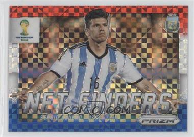 2014 Panini Prizm World Cup - Net Finders - Red, White, & Blue Power Plaid Prizms #3 - Sergio Aguero