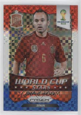 2014 Panini Prizm World Cup - Stars - Red, White, & Blue Power Plaid Prizms #30 - Andres Iniesta