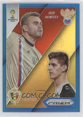 2014 Panini Prizm World Cup Matchups Blue Prizms #18 - Igor Akinfeev, Thibaut Courtois /199