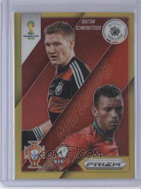 2014 Panini Prizm World Cup Matchups Gold Prizms #14 - Nani, Bastian Schweinsteiger /10