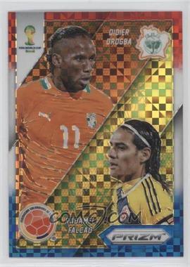 2014 Panini Prizm World Cup Matchups Red, White, & Blue Power Plaid Prizms #5 - Didier Drogba, Radamel Falcao