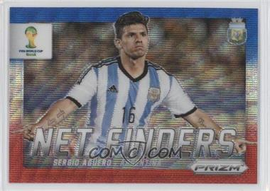 2014 Panini Prizm World Cup Net Finders Blue & Red Blue Wave Prizms #3 - Sergio Aguero