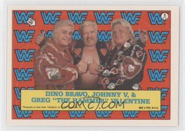 """1987 Topps WWF Stickers #9 - Dino Bravo, Johnny V, Greg """"The Hammer"""" Valentine"""