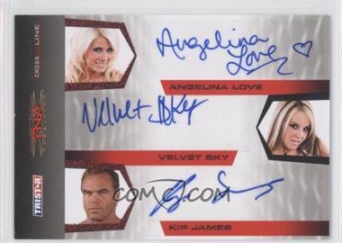 2008 TRISTAR TNA Wrestling Cross the Line Triple Autographs Red #C3-3 - Angelina Love, Velvet Sky, Kip James /25
