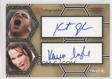 2008 TRISTAR TNA Wrestling Impact! TNAutographs Dual Gold #A2-2 - Kurt Angle, Karen Angle /50