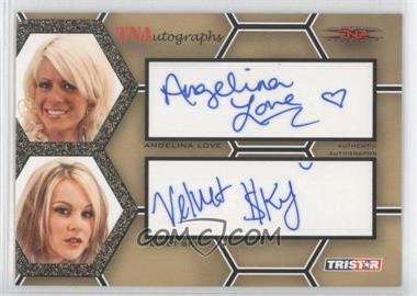 2008 TRISTAR TNA Wrestling Impact! TNAutographs Dual Gold #A2-LS - Angelina Love, Velvet Sky /50