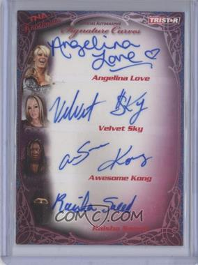 2009 TRISTAR TNA Wrestling Knockouts Signature Curves Turquoise #KA23 - Angelina Love, Velvet Sky, Awesome Kong, Raisha Saeed /25