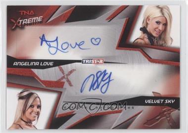 2010 TRISTAR TNA Xtreme Dual Autographs Red #X2-4 - Angelina Love, Velvet Sky /5