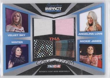 2011 TRISTAR TNA Signature Impact Wrestling Materials Silver #M14 - Velvet Sky, Angelina Love, Winter, Mickie James /199
