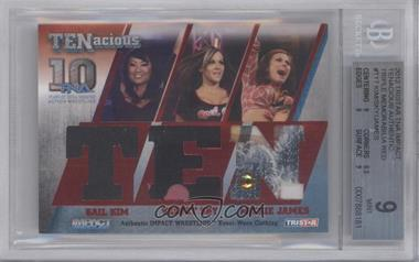 2012 TRISTAR TNA TENacious Authentic Triple Memorabilia Red #T17 - Gail Kim, Velvet Sky, Mickie James /10 [BGS 9]