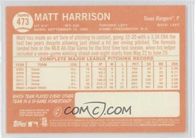 2013 Topps Heritage #473 - Matt Harrison SP - Courtesy of COMC.com