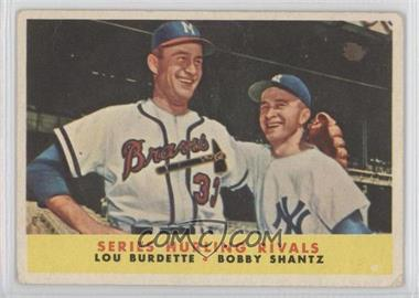 1958 Topps #289 - Series Hurling Rivals/Lou Burdette/Bobby Shantz - Courtesy of COMC.com