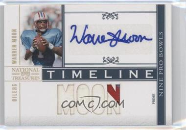 2010 Playoff National Treasures Timeline Materials Signature Player Name Prime #4 - Warren Moon/5 - Courtesy of COMC.com