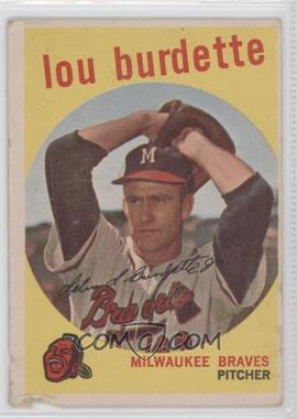 1959 Topps #440 - Lou Burdette/Posing as if/lefthanded - Courtesy of COMC.com