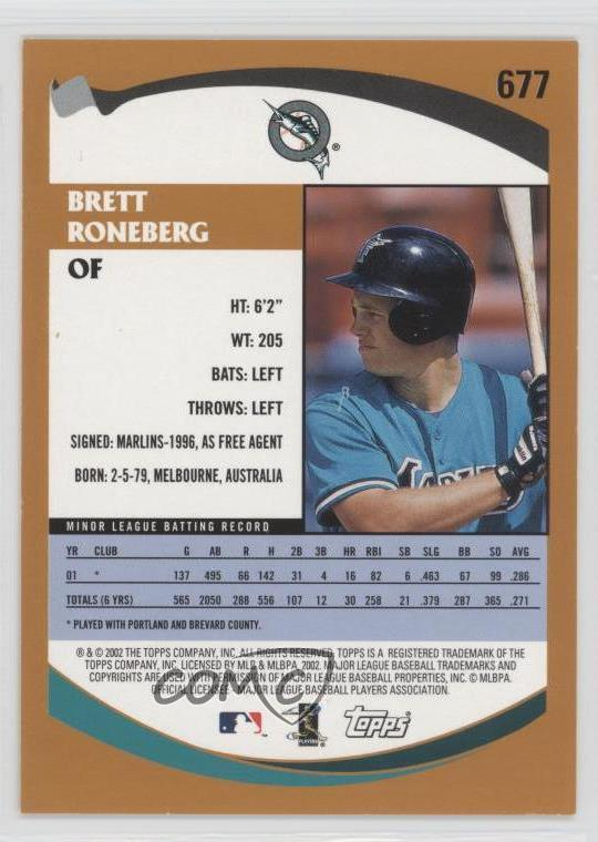 Details about 2002 Topps #677 Brett Roneberg Miami Marlins RC Rookie  Baseball Card