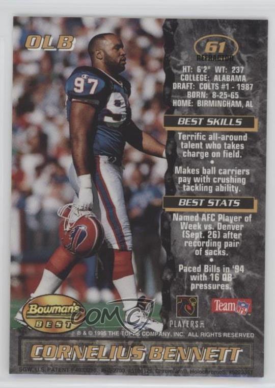 6a98933b Details about 1995 Bowman's Best Refractor #61 Cornelius Bennett Buffalo  Bills Football Card
