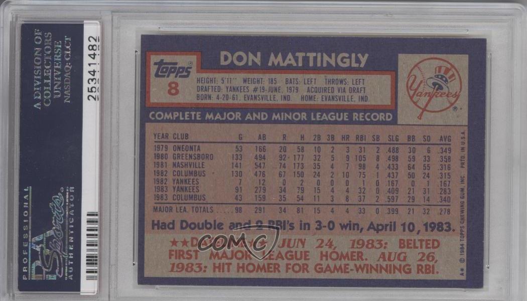 1984 Topps 8 Don Mattingly Psa 6 Ex Mt New York Yankees