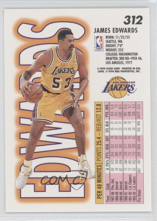 Sports Mem, Cards & Fan Shop 1993-94 Fleer Los Angeles Lakers Basketball Card #312 James Edwards Sports Trading Cards