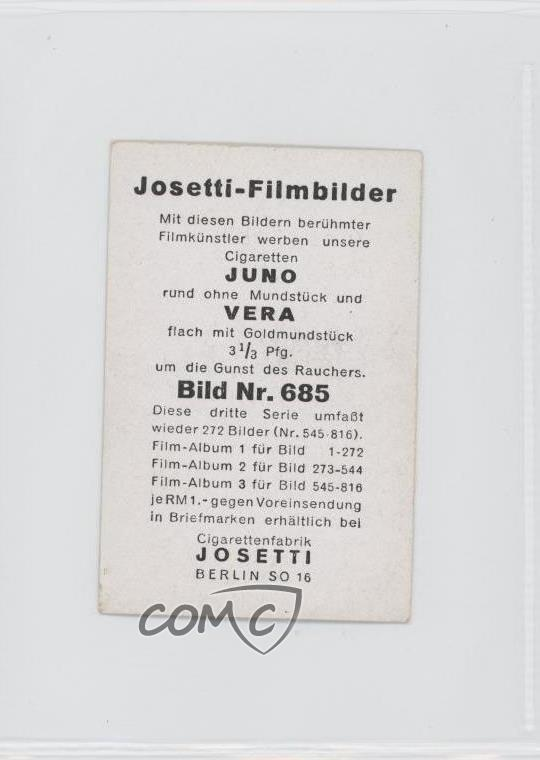 1930 1930s Josetti-filmbilder Tobacco Series 3 #697 Alexa Engstrom Card 1s8 100% Guarantee Collectibles Trading Card Singles