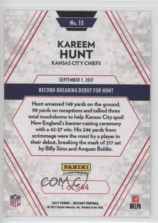 Verzamelingen 1 of 544 Made! 2017 Panini Instant NFL #13 KAREEM HUNT Chiefs Rookie RC