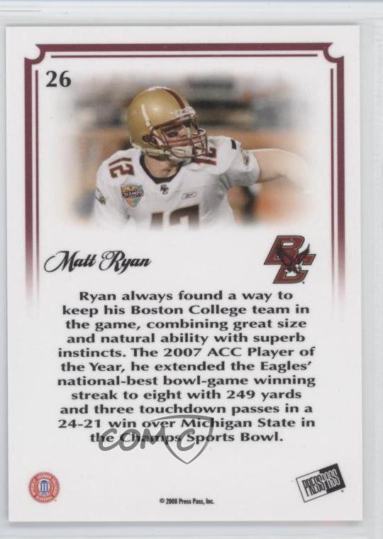 2008 Press Pass Legends Bowl Edition 10 Yard Line 26 Matt Ryan