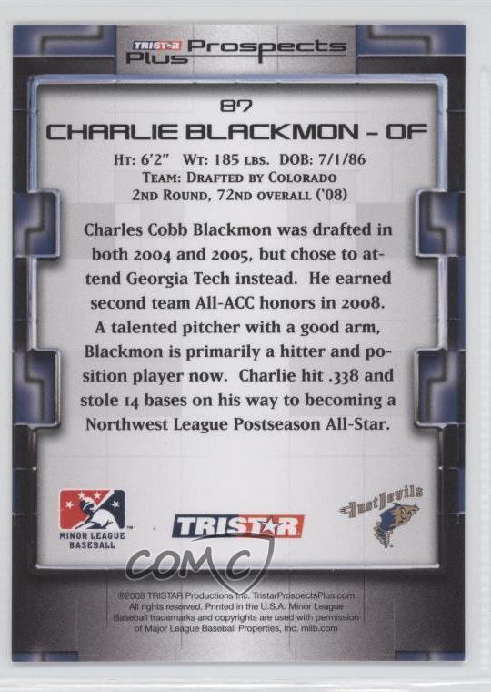 2008 TRISTAR Prospects Plus 87 Charlie Blackmon Tri-City Dust Devils Rookie Card Verzamelingen Verzamelkaarten, ruilkaarten