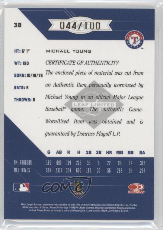 Honkbal Verzamelkaarten, ruilkaarten 2005 Leaf Limited #38 Michael Young Texas Rangers Auto Autographed Baseball Card
