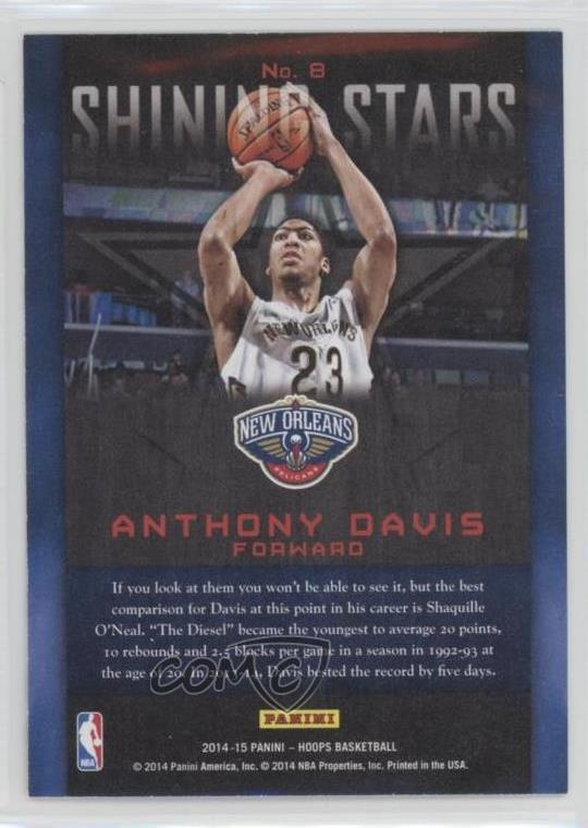 Details about 2014-15 NBA Hoops Shining Stars #8 Anthony Davis New Orleans  Pelicans Card