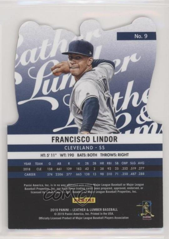 2019 Panini Leather /& Lumber Die-Cut #9 Francisco Lindor Gloves Baseball Card