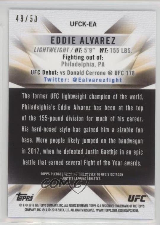 Details about 2018 Topps Chrome UFC Knockout Pulsar Refractor/50 #UFCK-EA  Eddie Alvarez Card