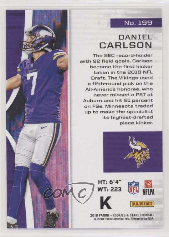 huge discount 52824 2ea78 Details about 2018 Panini Rookies & Stars #199 Daniel Carlson Minnesota  Vikings RC Rookie Card