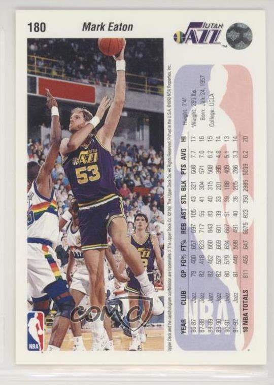Details about 1992-93 Upper Deck #180 Mark Eaton Utah Jazz Basketball Card