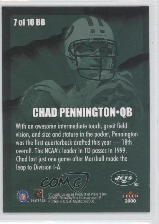 2000 Fleer Ultra Gold Medallion 226G Chad Pennington New York Jets Football Card Verzamelkaarten, ruilkaarten