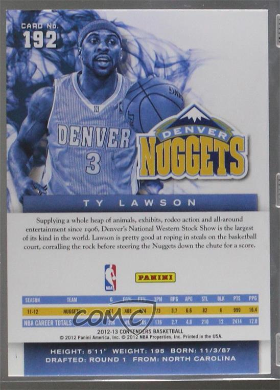 2012-13 Panini Immaculate Collection 25 Ty Lawson Denver Nuggets Basketball Card Verzamelkaarten: sport