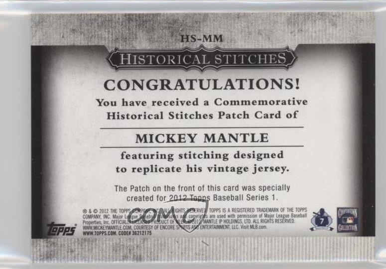 2012 Topps Manufactured Historical Stitches HS-MM Mickey Mantle New York Yankees Verzamelkaarten: sport Verzamelingen