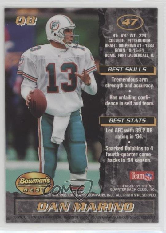 outlet store 399eb 6c47b Details about 1995 Bowman's Best #47 Dan Marino Miami Dolphins Football Card